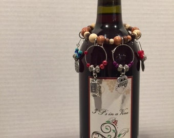 RV Camper Wine Charms with wine bottle bracelet