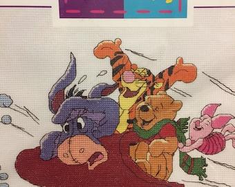 Sledding Pooh and Friends Counted Cross Stitch Kit Fiber Art Kit Winnie the Pooh