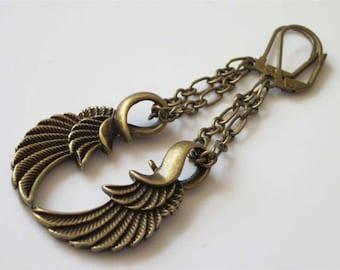 Angel Wing Earrings, Antiqued Bronze, Brass Metal Jewelry, Wing Jewelry, Brass Earrings, Steampunk