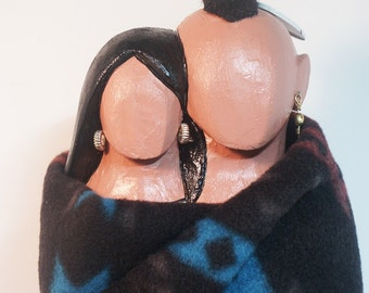 Sharing The Blaket American Indian marriage faceless art doll collectible OOAK tribal culture