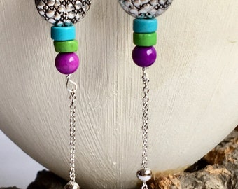Long silver boho earrings