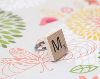 Pick your letter- Adjustable, Recycled, Scrabble Tile Ring