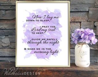 Printable Kids Nursery Wall Art, Watercolor, Bedtime prayer, Now I lay me down to sleep, purple lavender INSTANT DOWNLOAD