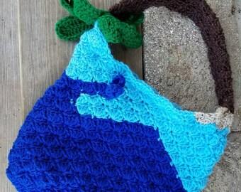 Blue Whale Bag, ready to ship, palm tree, whale, kid bags, gift for kids, tote bag, crochet bag, crochet purse, kids, palm leaf, whale purse