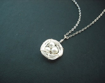 Silver Nest Necklace - freshwater pearl