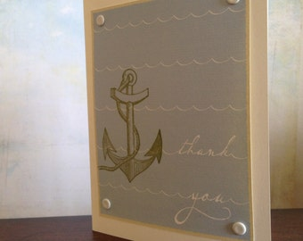 Anchor and Waves Thank You - 50-Pack Gocco Screen-Printed Cards