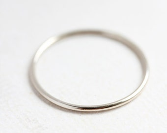 Solid 14k white gold stacking ring, round delicate gold band, thin gold band, stackable, fine white gold ring, gift for her