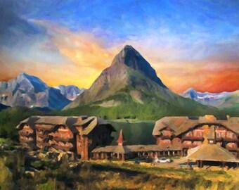 Glacier National Park - Montana - Many Glacier Hotel - Glacier Park Lodge - Wall Art Decor Fine Art Print #vi514