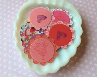 Paper Scallop Valentine Embellishments- gift tags, cupcake toppers 2 inch diameter set of  20