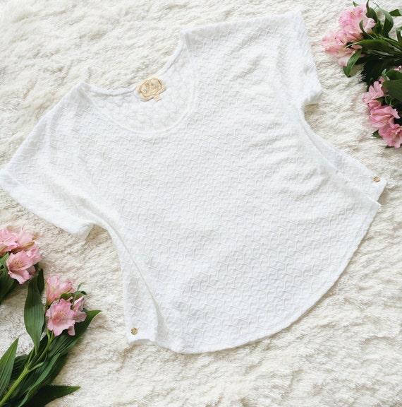 Charlotte White Fishtail Textured Sweater Knit Cuff Sleeve Tee
