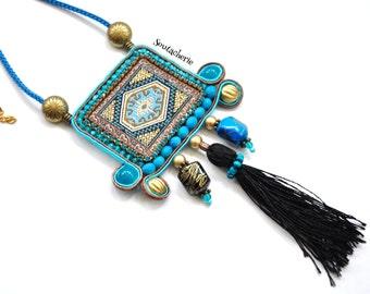 Ethnic tassel necklace - Hippie chic - Soutache jewelry - Coachella style - Bohemian Gypsy