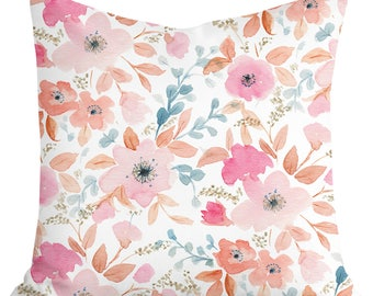 Pink Rose Watercolor Pillow Case, HandMade in Canada Handpainted Floral Print Cushion Cover, Soft Pink Accent Pillow Cover, Unique Linen Fab