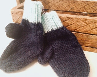 Estate Yarn Little Kid Mittens!  Antique yarn gifted as something useful! Keep a supply so hands never go bare. Kids get cold too!