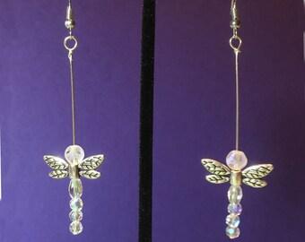Crystal & Metal Dragonfly Earrings, Earrings for Women, Dangle Earrings, Beaded Earrings, Womans Earrings, Best Friend Earrings