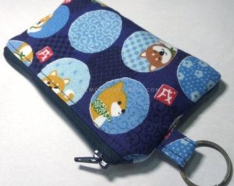 Japanese Dog, shiba inu key ring zip coin purse portefeuille, women wallet, portemonnaie cardholder id180406, money change travel organizer