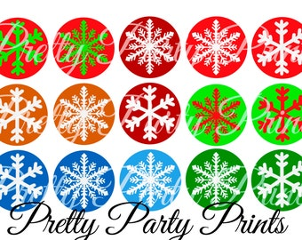 Instant Download Christmas Snowflakes 1 inch Round Circles for Bottle Caps, Hair Bows, Jewelry, Magnets and Scrapbooking