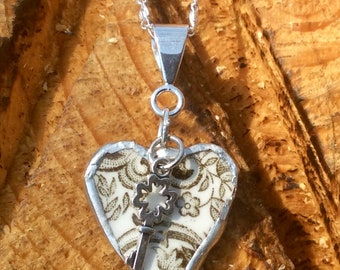 BROKEN CHINA Heart Pendant Necklace Jewelry, Recycled China, Handmade, Sterling Silver, Silver, Gift