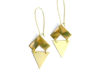 Vintage inspired brass bohemian large triangle chevron earrings