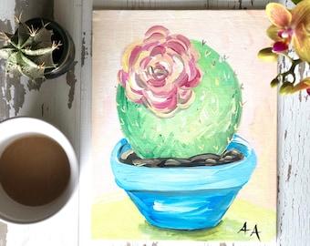 Flowering cactus in acrylic
