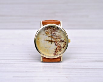 World Map watch. Gift for women. Graduation gift. America map. Birthday Women watches. Mens watch. Wanderlust jewelry. Unique boyfriend gift
