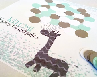 Mint and Gray Baby Shower Decorations, Giraffe Baby Shower Guestbook Alternative, Mint and Grey Gender Neutral Shower Guest Sign In, Aqua