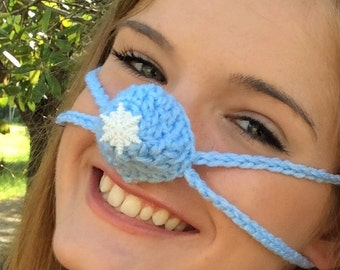 Snowflake Nose Warmer, Nose Cozy, Crochet, Frozen Nose Cover,Teen, Adult, Gag Gift for Her, Outdoor Activies, Sporting Events, Snowhat