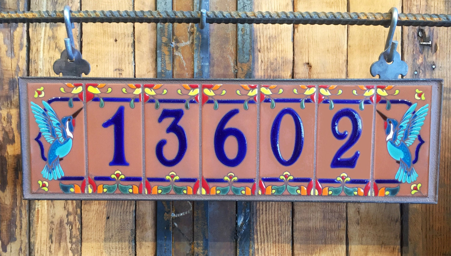 Royal blue on terra cotta ceramic tile house numbers with description custom hand glazed royal blue on terra cotta ceramic tile house address numbers dailygadgetfo Choice Image