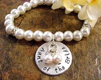Aunt of the Bride Pearl Bracelet, Aunt Wedding Bracelet, Bridal Bracelet, Aunt of the Bride Jewelry