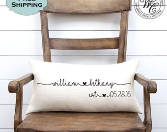 Wedding gift etsy wedding gift wedding gifts personalized pillow newlywed gift engagement gift rustic negle Images