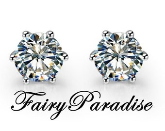 Total 1.2 ct ( each 0.6 ct ) round man made diamond earrings in 925 sterling silver, 6 prongs, Studs, Basket Set, Classic (FairyParadise)
