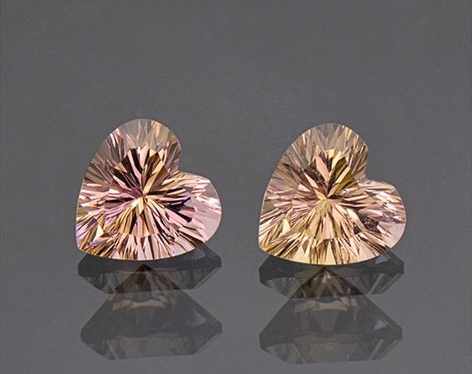 Pretty Heart Ametrine Quartz Match Gemstone Pair 4.80 tcw.