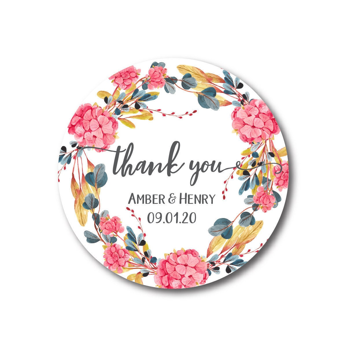 Thank You Stickers Pink Hydrangea Wreath Wedding Favor Labels A ...