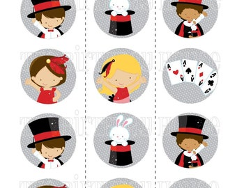 INSTANT DOWNLOAD - PRINTABLE Magic Show Party Rounds - Assorted Magician Cupcake Toppers by The Birthday House