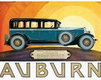 Auburn Sedan 8-88 motoring poster advert art deco style reproduction print