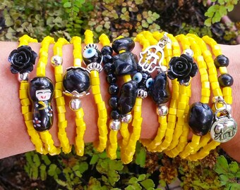 Matrioska bracelet, yellow bracelet set - stretch - layering - stacking - stackable - black rose - valentine gift - boho - christmas gift