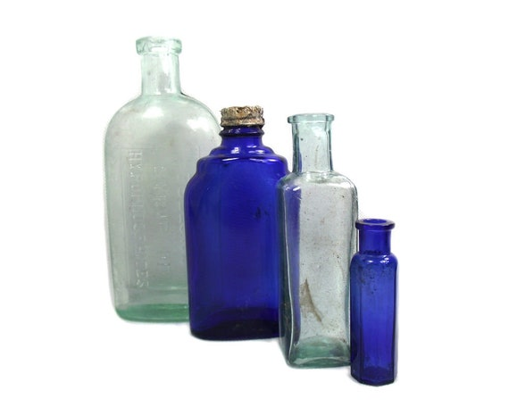 Antique Cobalt Blue and Aqua Glass Bottle Collection