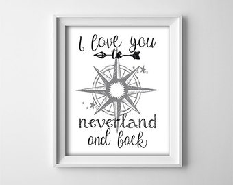 "INSTANT DOWNLOAD 8X10"" printable digital art file-I love you to Neverland and back-Peter Pan-Compass-black,white-Star-Nursery art-Typography"