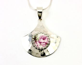 Pink Rose Necklace, Broken China Jewelry,  Hammered Sterling Silver, Pink Rose Flower Necklace,  Gift for Girlfriend