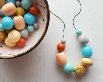 beachcomber necklace - remixed vintage beads - lucite - aqua peach mint - summer necklace - beach jewelry