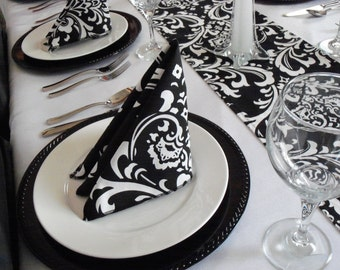 Black and White Napkins Floral Damask Napkins Wedding Table Centerpiece Black Fabric Linens Home Decor