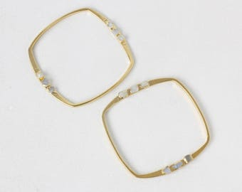moonstone bangle | raw moonstone cuff bracelet | june birthstone cuff | june birthstone bracelet | raw gemstone bangle  | gemstone cuff