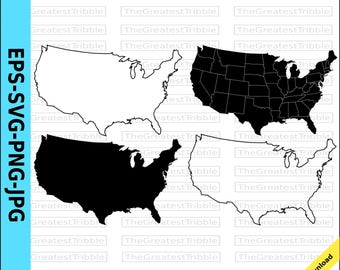 US States Clip Art 50 States Outline Silhouette Drop Shadow