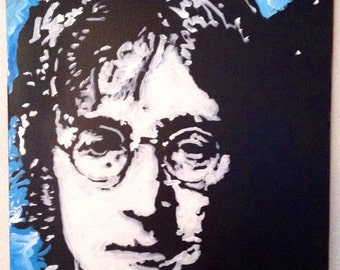 Portrait Painting John Lennon Art The Beatles Art by Matt Pecson Pop Art Painting on Canvas Painting Boyfriend Gift for Him MADE TO ORDER