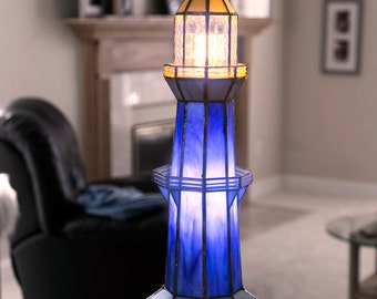 Lavander U0026 Grey Stained Glass Lighthouse Lamp