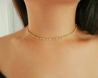 14k Gold Marquise Diamond Charms Choker Necklace/ Dainty Gold Necklace / Gold Filled Jewelry / Real Gold Necklace /Dainty Jewelry