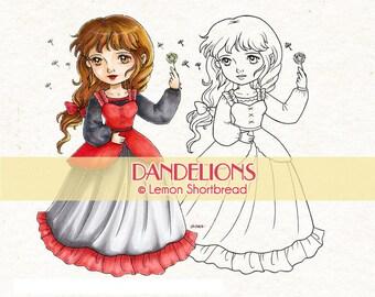 Digital Stamp Dandelions Girl, Digi Download Spring Summer, Well Wishes, Floral, Clip Art, Coloring Page, Scrapbooking Supplies