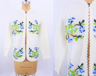 "1960s floral cardigan   cream scallop trim floral knit sweater   vintage 60s cardigan   W 39"""
