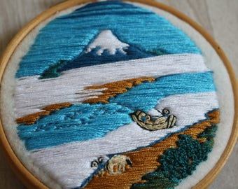 Japanese landscape hand embroidered painting