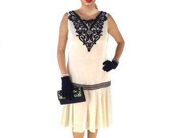 Retro Flapper Dress, Great Gatsby Dress, Flapper Costume, 1920s Dress, 20s Dress, Roaring 20s Dress,Downton Abbey Dress,Cream Chiffon,Black