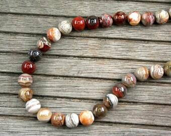 Laguna Lace Agate 9.5-10mm round beads (ETB01013)